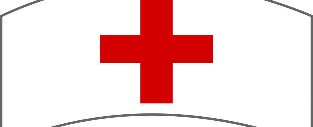Red Cross logo on a typical nurse white cap